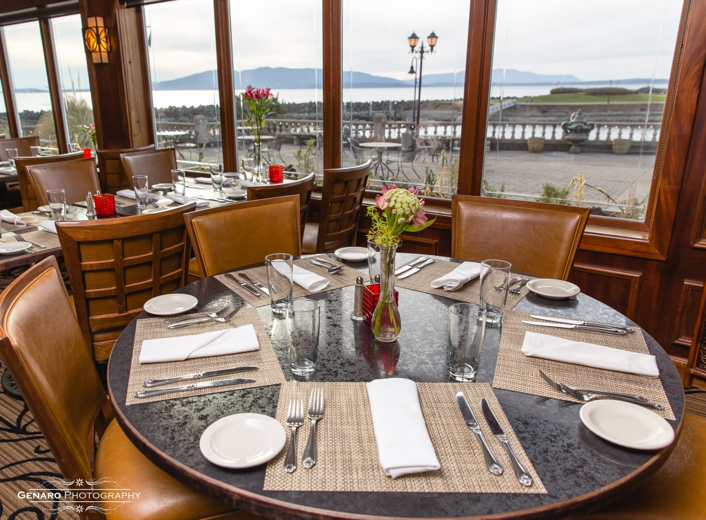 Hotel Bellwether's  Lighthouse dining room with view of Lummi Island and Bellingham Bay