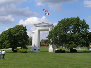 The US Canadian border, Peace Arch crossing
