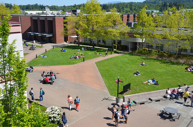 The courtyard at Whatcom Community College