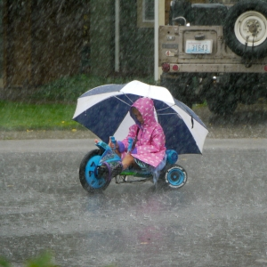 Riding in the Rain, Philip Humphries. Photo provided courtesy of the City of Bellingham