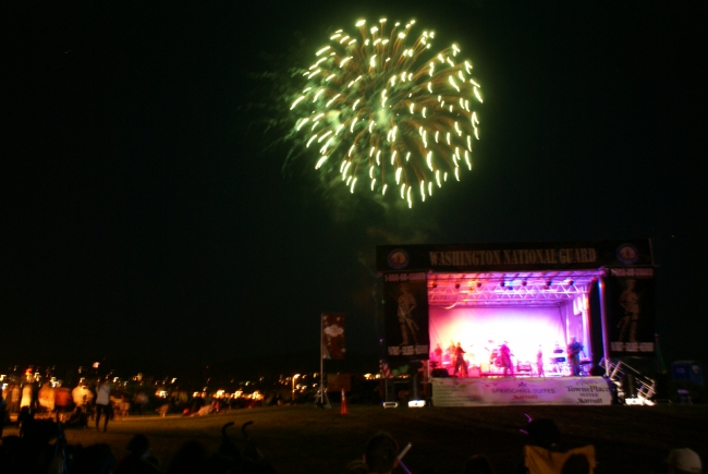 Live music accompanies the fireworks display.